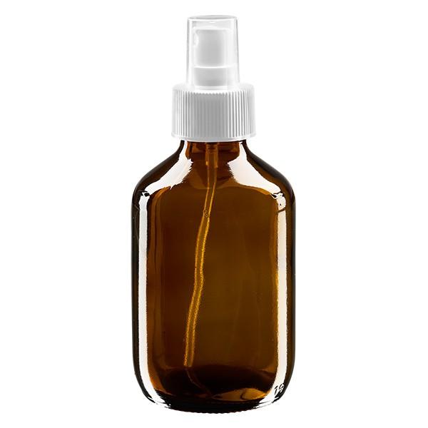 Flacon médical norme européenne de 200 ml avec spray blanc GCMI 28/410 et couvercle transparent, standard