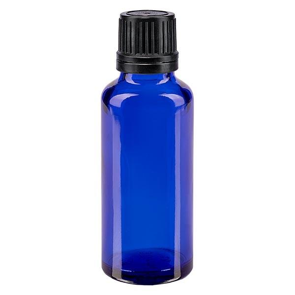 Flacon pharma. bleu 30 ml bouch. compte-g. prem. 1mm noir inviol.