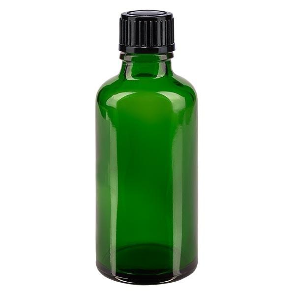 Flacon pharmaceutique vert 50 ml bouchon compte-gouttes 1 mm noir standard