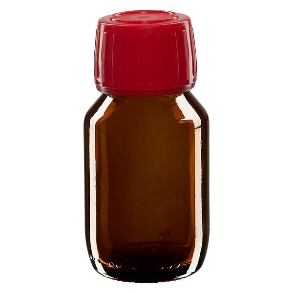 Flacon médical 50 ml couleur ambrée avec bouchon rouge
