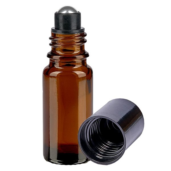Flacon de déodorant en verre ambré 10 ml, déo à bille vide