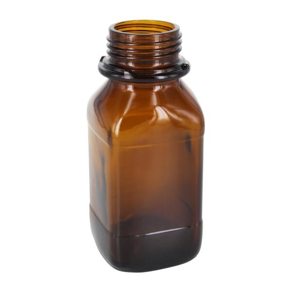 Flacon carré à col large (flacon à produits chimiques) en verre ambré 250 ml, avec goulot de norme DIN 45 (pour bouchon rayé)