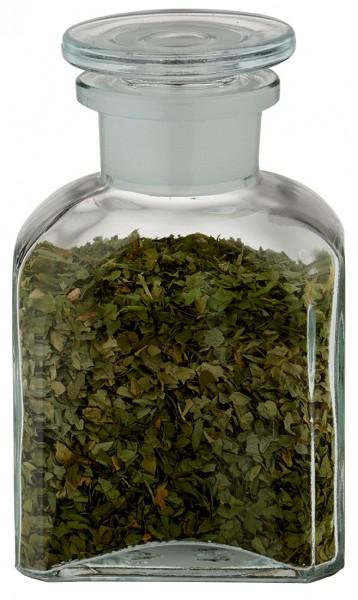 Gewürzglas Idee: Vierkant-Apothekerflasche 150 ml Weithals Klarglas inkl. Glasstopfen