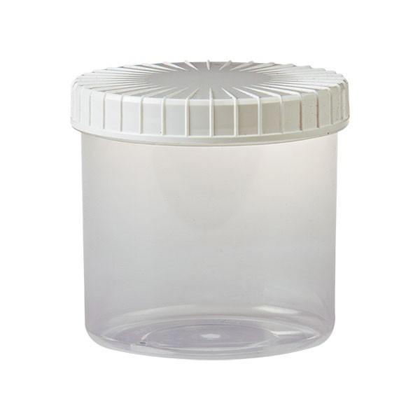 transparente Kunststoffdose 375ml mit weißem Deckel