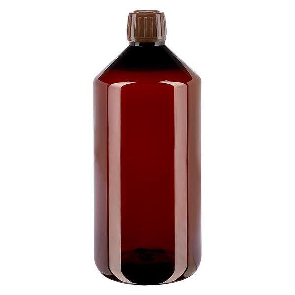 Flacon médical de 1000 ml en PET, avec bouchon à vis brun PP28
