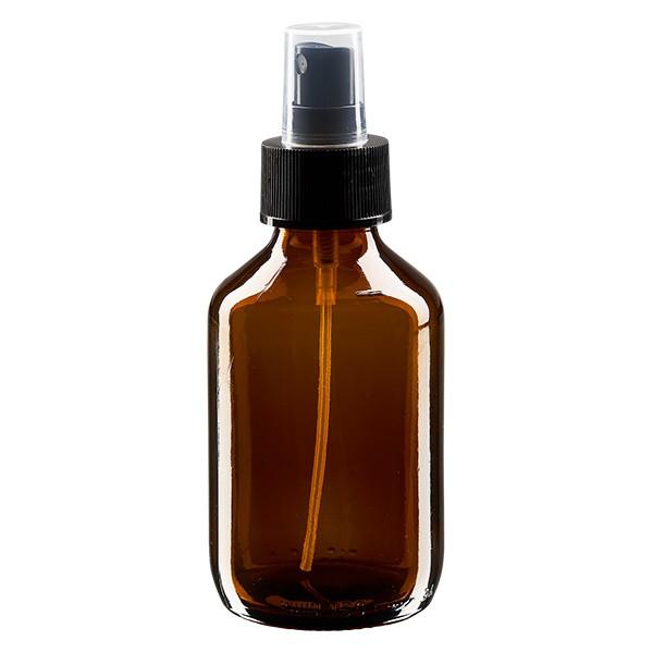 Flacon médical norme européenne de 150 ml avec spray noir GCMI 28/410 et couvercle transparent, standard
