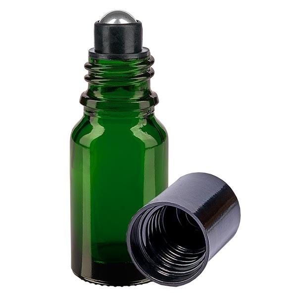 Flacon de déodorant en verre vert 10 ml, déo à bille vide