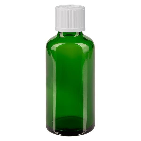 Flacon pharmaceutique vert 50 ml bouchon á vis blanc séc. enf. standard