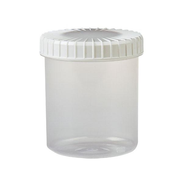 transparente Kunststoffdose 180ml inkl. gerilltem Schraubdeckel weiss