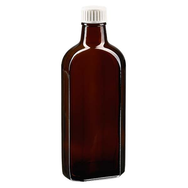 Flasque brune de 250 ml au goulot PP 28, avec bouchon à vis PP 28 blanc, joint en PEE et système d'inviolabilité