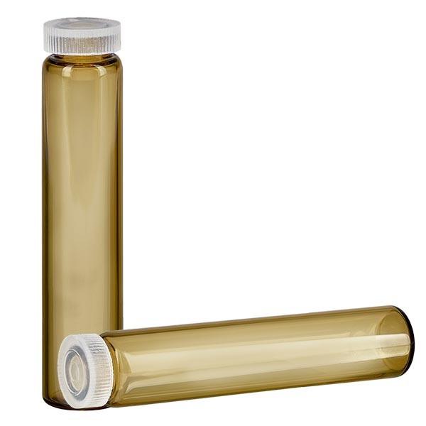 1 tube à échantillon / tube pour essences au bord arrondi, en verre ambré 2 ml