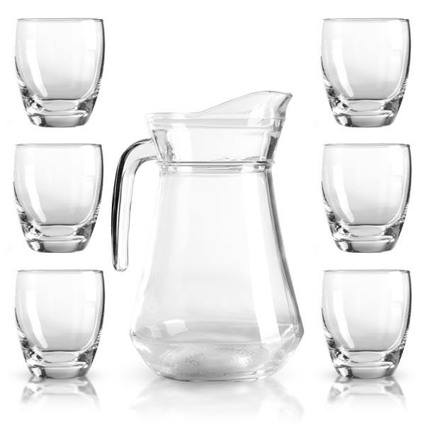 1x Glaskanne 1,6 Liter und 6x Trinkgläser 0,3 Liter