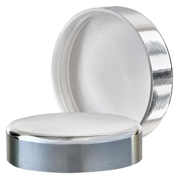Couvercle à vis argenté pour pot en verre bleu 50ml