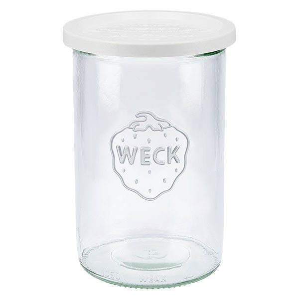 Bocal conique WECK 1000 ml avec couvercle fraîcheur en plastique