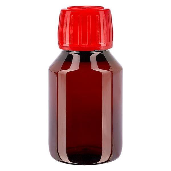 Flacon médical de 50 ml en PET, avec bouchon à vis rouge PP28