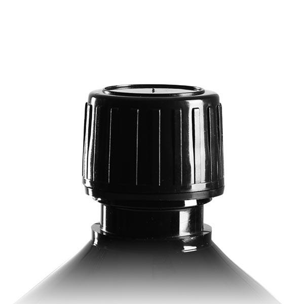 Bouchon à vis noir + embout gicleur, 28mm pr flacons méd PET, inviolable