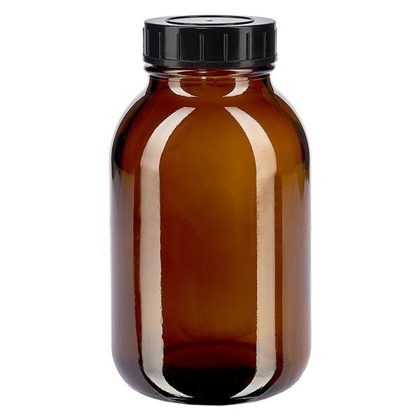 Bocal à col large en verre ambré 500 ml + couvercle à vis