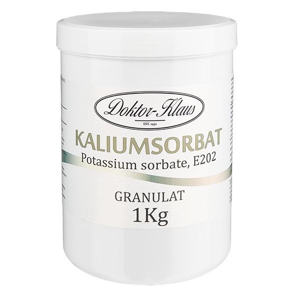 Sorbate de potassium 1000 g, en pot avec couvercle à vis blanc