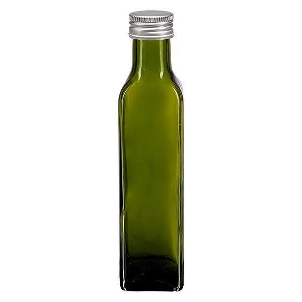 Bouteille d'huile carrée 250 ml, transparente avec capsule à vis argentée en aluminium (PP 31,5 mm)