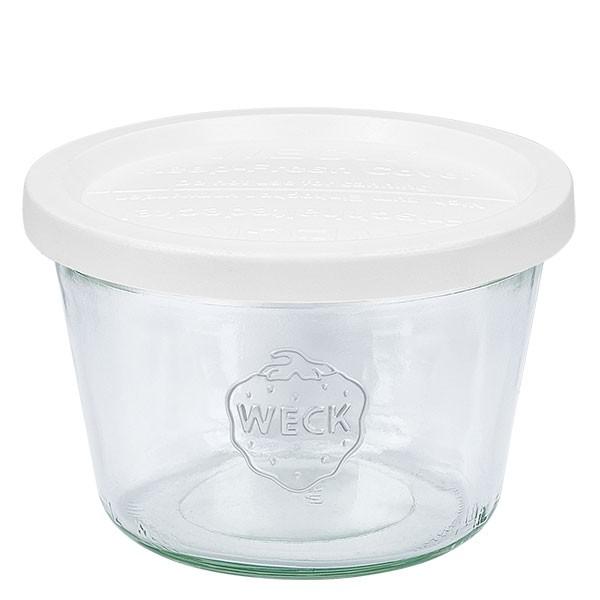 Bocal conique WECK 370 ml (1/4 L) avec couvercle fraîcheur en plastique