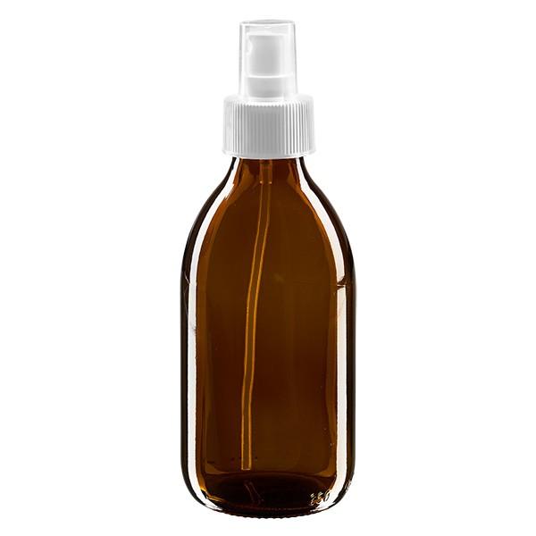 Flacon médical norme européenne de 250 ml avec spray blanc GCMI 28/410 et couvercle transparent, standard