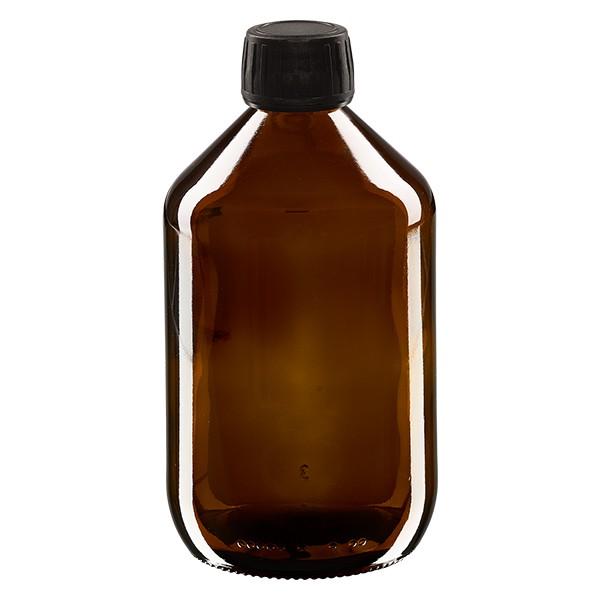 Flacon médical 500 ml couleur ambrée avec bouchon noir