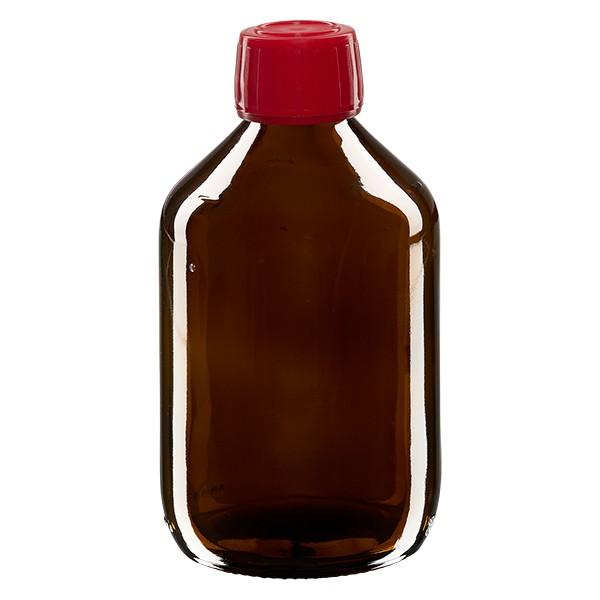 Flacon médical 300 ml couleur ambrée avec bouchon rouge