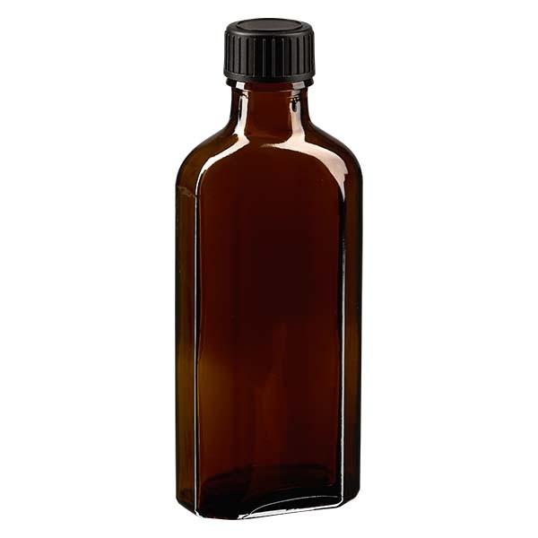 Flasque brune de 100 ml au goulot DIN 22, avec bouchon à vis DIN 22 noir et joint PEE