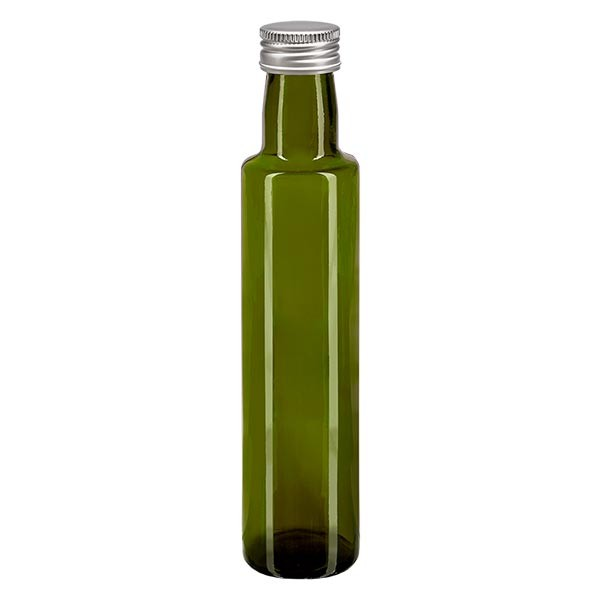 Bouteille d'huile 250 ml ronde, vert olive + capsule à vis argentée en aluminium (PP 31,5 mm)