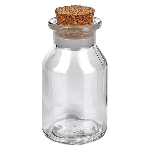 Flacon à col large et conique 100 ml en verre clair + bouchon de liège