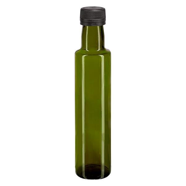 Bouteille d'huile 250 ml ronde, vert olive + capsule à vis noire (PP 31,5 mm), bague anti-gouttes et système d'inviolabilité