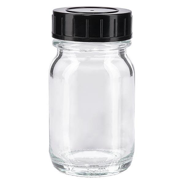 Bocal à col large en verre clair 30 ml + couvercle à vis