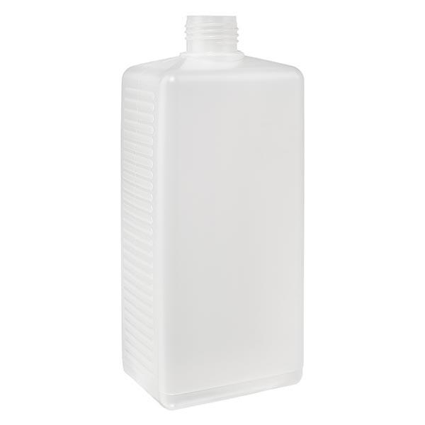 Flacon carré 500 ml en PE clair, ND 25 sans bouchon