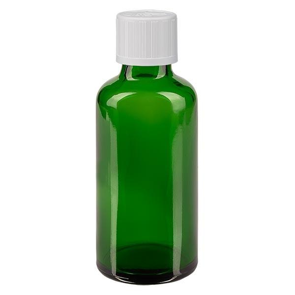 Flacon pharmaceutique vert 50 ml bouchon compte-gouttes blanc séc. enf. standard