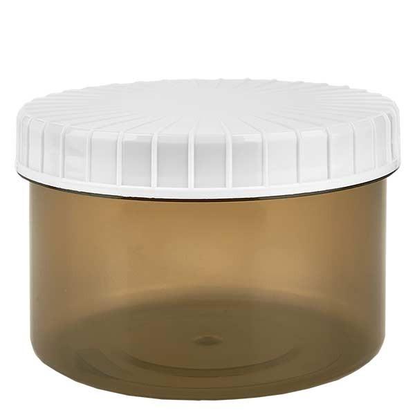 Pot en plastique couleur Shadow 250 ml + couvercle à vis blanc strié en PE, fermeture standard