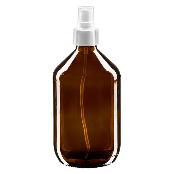 Flacon médical norme européenne de 500 ml avec spray blanc GCMI 28/410 et couvercle transparent, standard