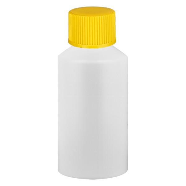Flacon cylindrique en PET blanc 50 ml, S20x3, avec bouchon