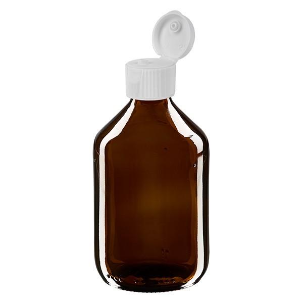 Flacon médical de 300 ml avec couvercle blanc à charnière