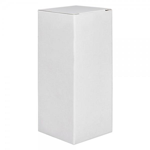 Boîte pliante BP1 en carton blanc avec rabat intérieur, hauteur 97mm