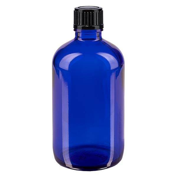 Flacon pharmaceutique bleu 100 ml bouchon compte-gouttes 1 mm noir standard