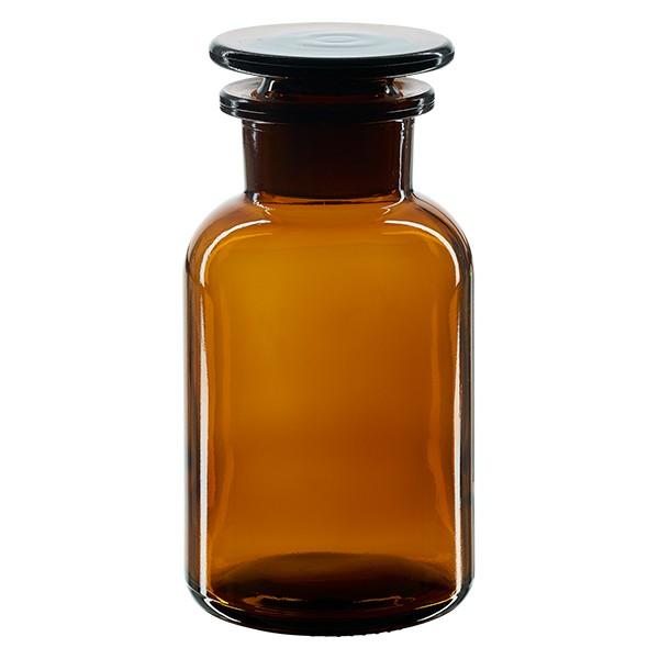Apothekerflasche 250 ml Weithals Braunglas inkl. Glasstopfen