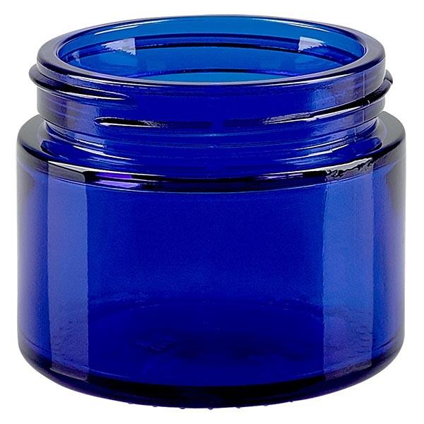 Pot en verre bleu roi 50 ml, sans couvercle, filetage 52 mm