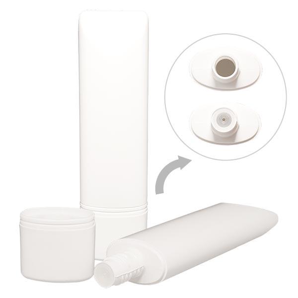 Tube blanc 50 ml en PEHD/PEBD + bouchon plat