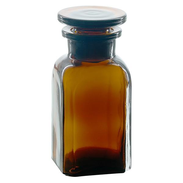 Flacon carré col large 100 ml + bouchon RIN, verre ambré