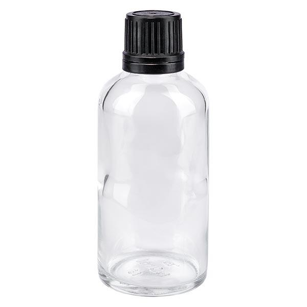 Flacon pharmaceutique clair 50 ml bouchon compte-gouttes noir bague inviolable