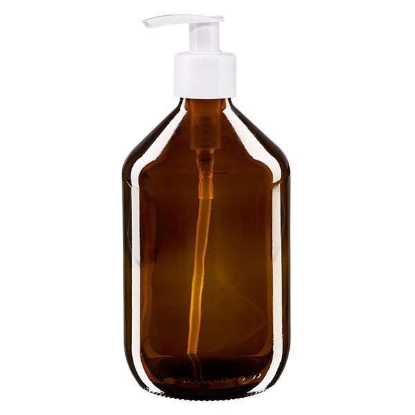 Flacon médical de 500 ml avec pompe doseuse blanche