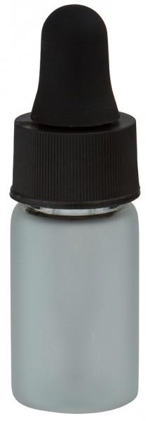 Mini flacon blanc laiteux de 3 ml, avec pipette compte-gouttes PL28 noire