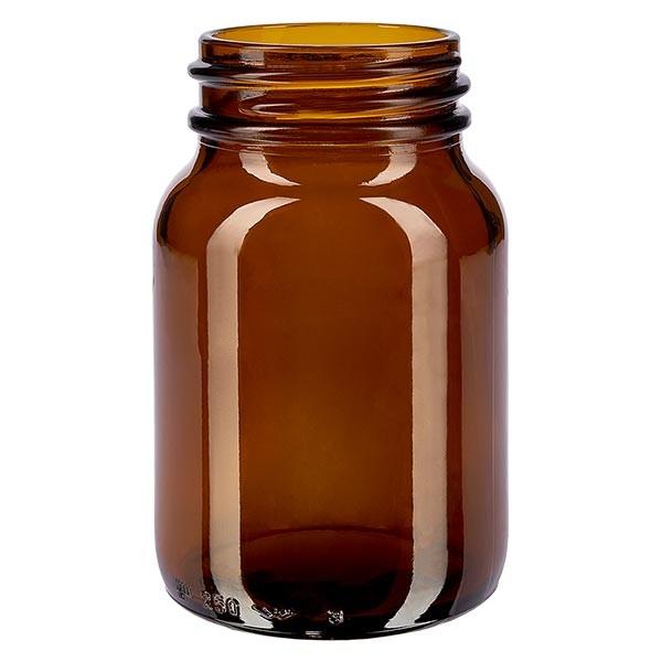 Bocal à col large en verre ambré 250 ml, goulot DIN 55, sans couvercle