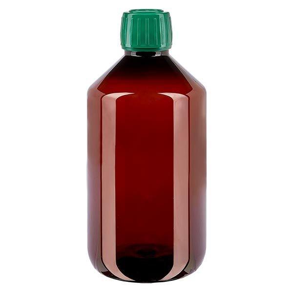 Flacon médical de 500 ml en PET, avec bouchon à vis vert PP28