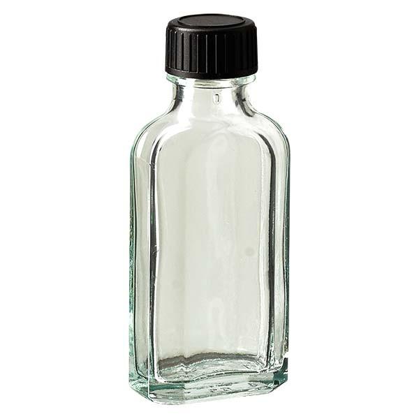 Flasque transparente de 50 ml au goulot DIN 22, avec bouchon à vis DIN 22 noir et joint LKD